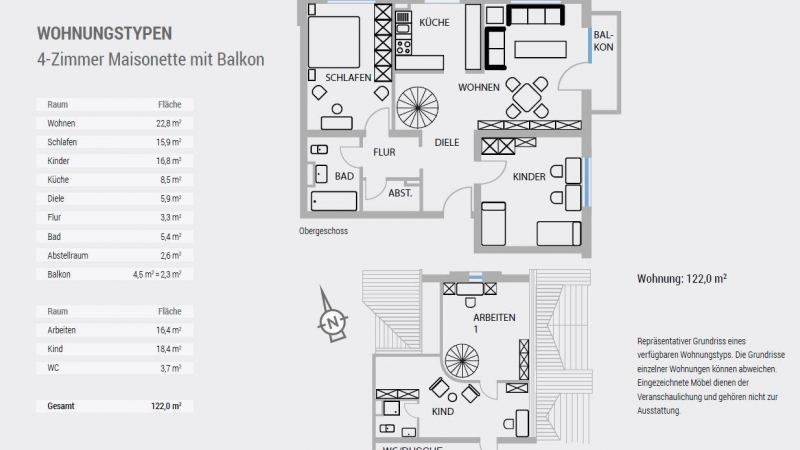 4-Zimmer Maisonette mit Balkon