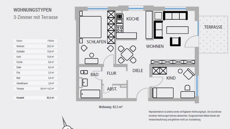 Beispielgrundriss Wohnungstyp 3-Zimmer mit Terrasse