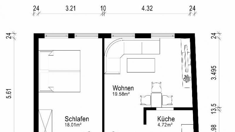 Beispielgrundriss für die Wohneinheit im 1. Obergeschoss rechts
