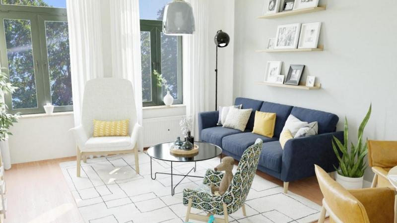 Das hübsche Wohnzimmer wurde von uns visuell für Sie eingerichtet.